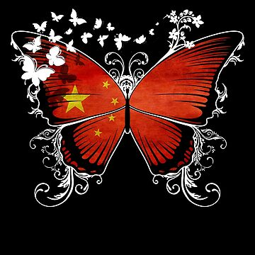 China Flag Butterfly Chinese National Flag DNA Heritage Roots Gift  by nikolayjs