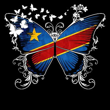 Congo Flag Butterfly Congolese National Flag DNA Heritage Roots Gift  by nikolayjs