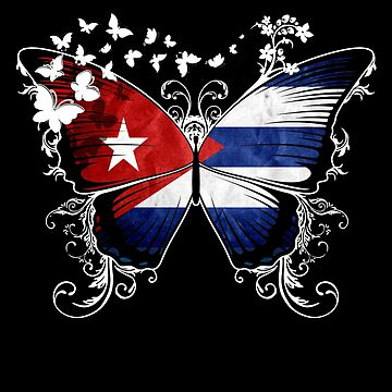 Cuba Flag Butterfly Cuban National Flag DNA Heritage Roots Gift  by nikolayjs