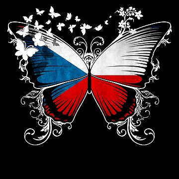 Czech Republic Flag Butterfly Czech National Flag DNA Heritage Roots Gift  by nikolayjs