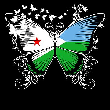 Djibouti Flag Butterfly Djiboutian National Flag DNA Heritage Roots Gift  by nikolayjs