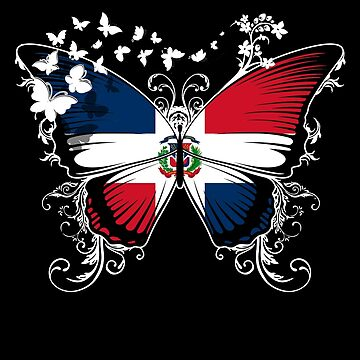 Dominican Republic Flag Butterfly Dominican National Flag DNA Heritage Roots Gift  by nikolayjs