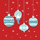 retro teal ornaments on red  by SylviaCook