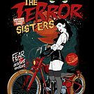 Fun Biker Girl T-shirts, Terror Biker Chicks Shirts, Fun Sisters T-shirt, and Vintage Biker Girls Shirts, Funny Bike Chicks, Motorcycle Gangs T-Shirt, Gang Banger Shirts by Robert Diebold