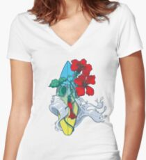 Wave in bloom - Surfboard with Hibiscus  Women's Fitted V-Neck T-Shirt