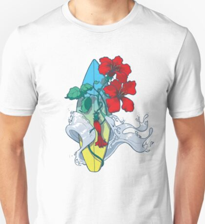 Wave in bloom - Surfboard with Hibiscus  T-Shirt