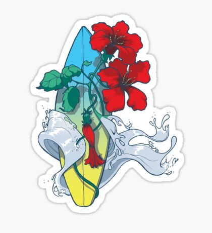 Wave in bloom - Surfboard with Hibiscus  Sticker