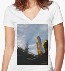 yellow, sky, travel, airplane, outdoors, city, business, technology, architecture, vertical, color image, New York City, USA Women's Fitted V-Neck T-Shirt