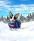 Scarf Corgi in the Snow by shivae