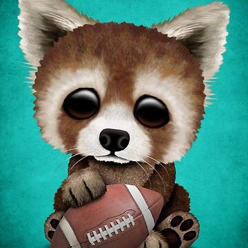 Cute Baby Red Panda Playing With Football by JeffBartels