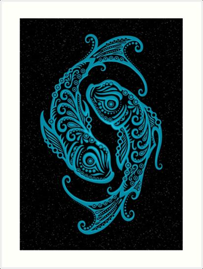 Blaues Fische Sternzeichen in den Sternen von jeff bartels