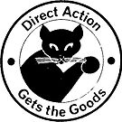 Direct Action Gets The Goods - Anarchist Black Cat Logo by dru1138