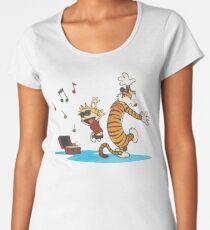 calvin and hobbes dancing with music Women's Premium T-Shirt