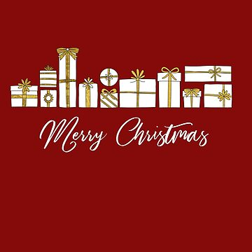 Merry Christmas, Packages with Gold Ribbons Xmas Gift Ideas by sparkpress