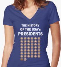 The History of The USA Presidents Emoji Style Fitted V-Neck T-Shirt