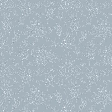 Blush blue white hand painted modern floral leaves pattern by Kicksdesign
