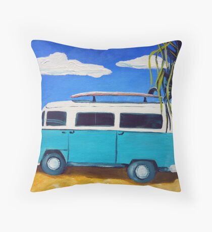 Surf's Up! - acrylic on canvas Throw Pillow