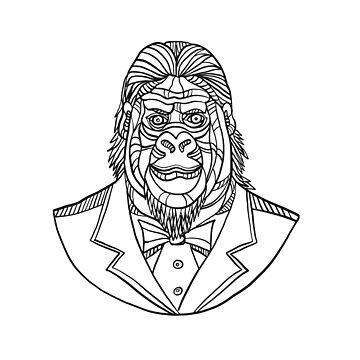 Gorilla Wearing Tuxedo Bust Monoline by patrimonio