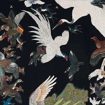 Detail from Black Kimono with Birds in Flight by Greenbaby