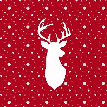 Deer on red . by marinaklykva