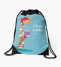 Christmas giraffe greetings Drawstring Bag