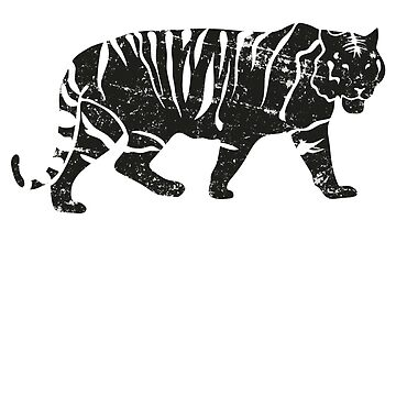 Distressed Minimalist Retro Bengal Tiger  by RowdyRouton