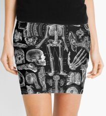 Human Anatomy Black Print Mini Skirt