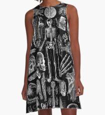 Human Anatomy Black Print A-Line Dress