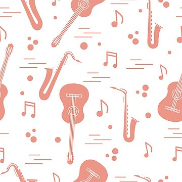 Seamless pattern with saxophones, notes, guitars. by aquamarine-p