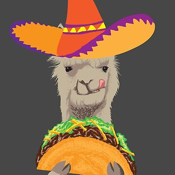 Llama Eating Taco Art | Cool Mexican Alpaca Funny Gift by NBRetail