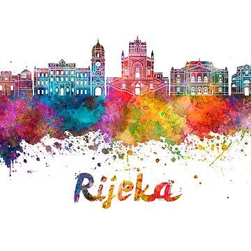 Rijeka skyline in watercolor splatters  by paulrommer