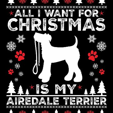 Merry Christmas Airedale Terrier Dog Lover Gift by BBPDesigns