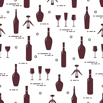 Pattern of wine glasses, bottles, corkscrew. by aquamarine-p