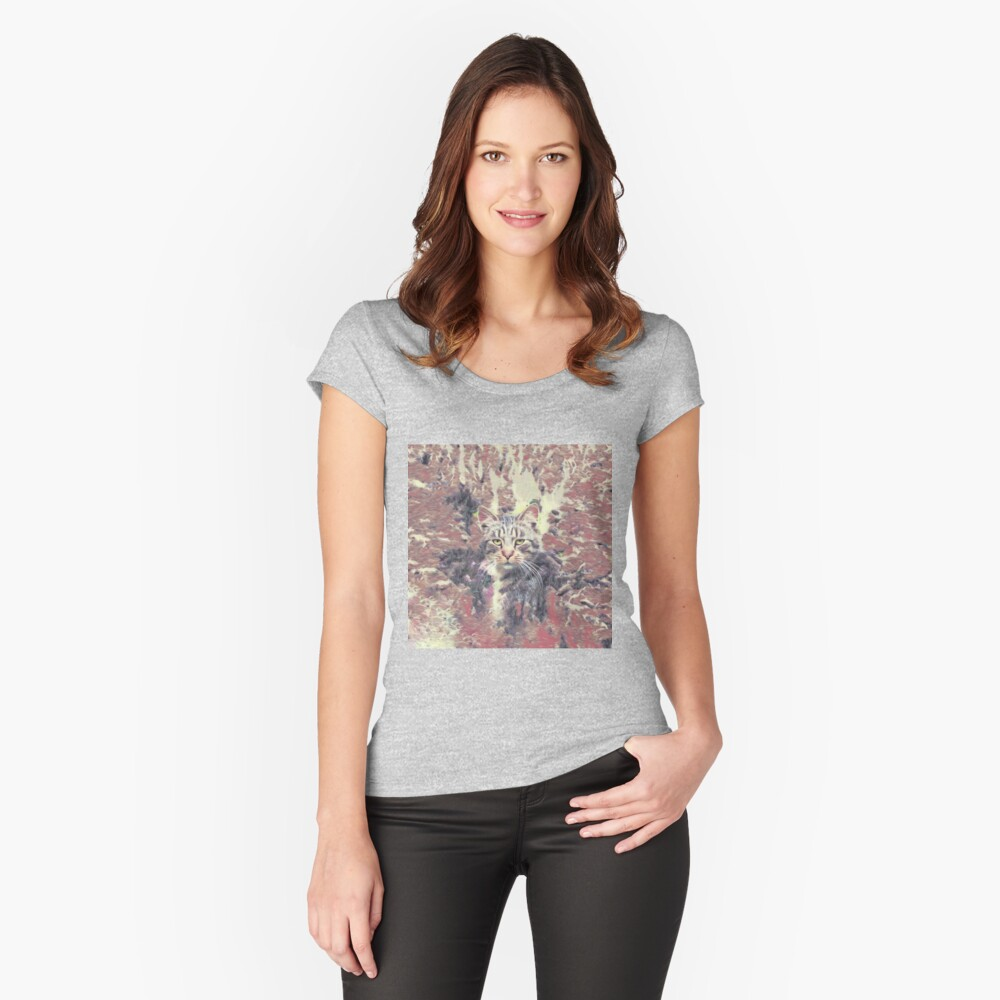 Abstract Autumn Cat Fitted Scoop T-Shirt
