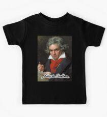 Camiseta para niños Ludwig van Beethoven, compositor y pianista alemán. Retrato, en negro