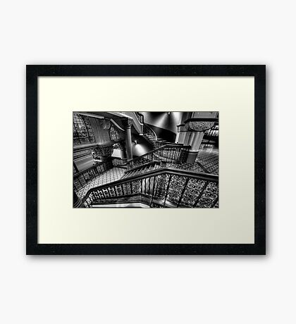 Over The Rails - QVB Building (Monochrome) , Sydney - The HDR Experience Framed Print