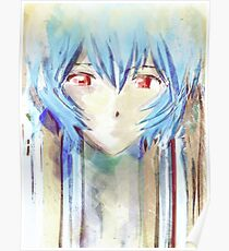 Ayanami Rei Evangelion Anime Tra Digital Painting  Poster