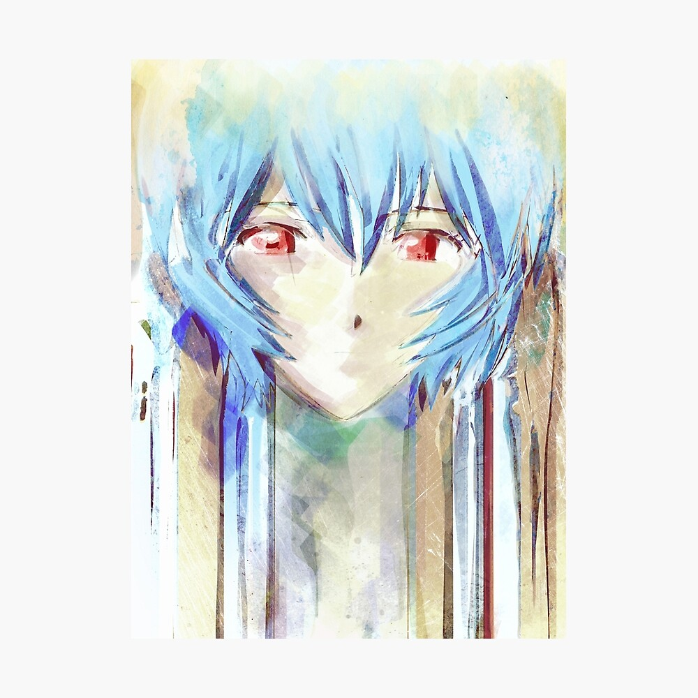 Ayanami Rei Evangelion Anime Tra Pintura Digital Lámina fotográfica
