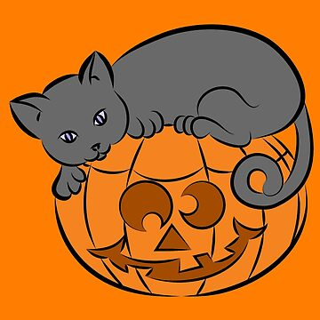Halloween Cat on a Pumpkin Design, Kitty or Kitten Lovers t-shirt, case, clock and more by BossBabeArt