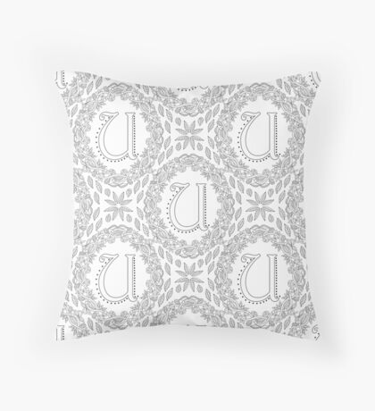 Letter U Black And White Wreath Monogram Initial Floor Pillow