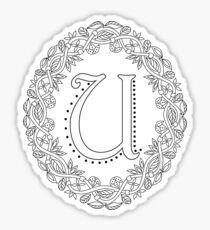Letter U Black And White Wreath Monogram Initial Sticker