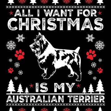 Merry Christmas Australian Terrier Dog Lover Gift by BBPDesigns