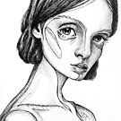 Meet Cecile - portrait of a thinker #2 – black and white ink drawing by ArtsyAnts