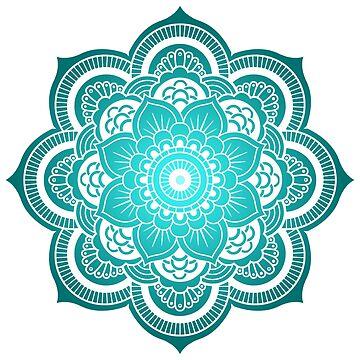 Mandala Blue and White by studiopico