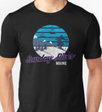 Sunday River Newry Maine New England USA Ski Resort Snowboarding Winter Skiing Wear T-Shirts Hoodies Sweaters and Jumpers Unisex T-Shirt