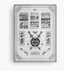 Legend of Zelda Hylian Shield Geek Line Artly Metal Print