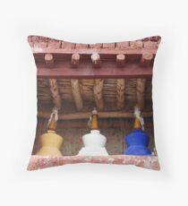 The Three Stupa Throw Pillow