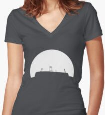 Bremen football stadium in the sunset  Women's Fitted V-Neck T-Shirt