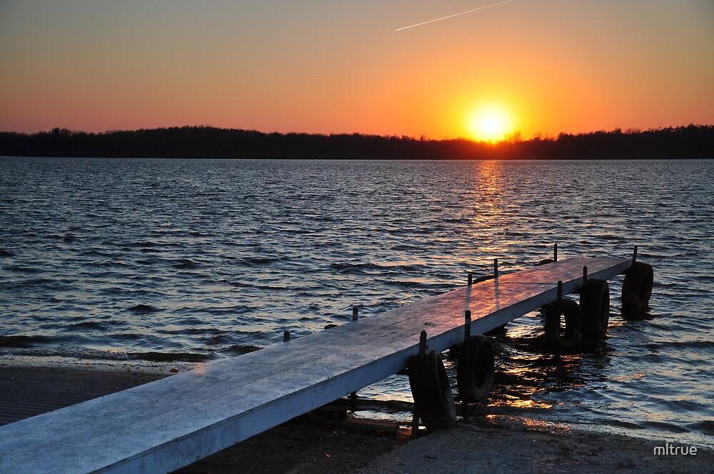 Prairie Creek Reservoir-Pier at Sunset by mltrue