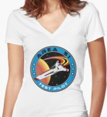 Area 51 Test Pilot Women's Fitted V-Neck T-Shirt